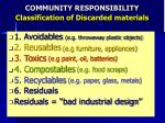 community responsibility classification of discarded materials