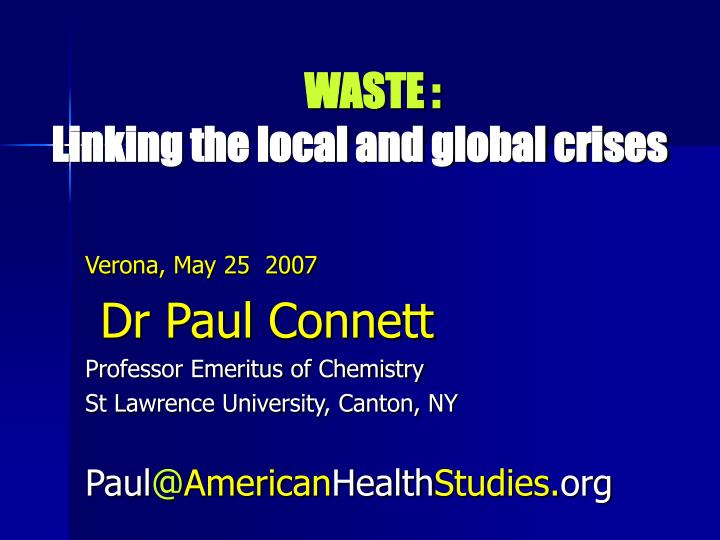 waste linking the local and global crises n.