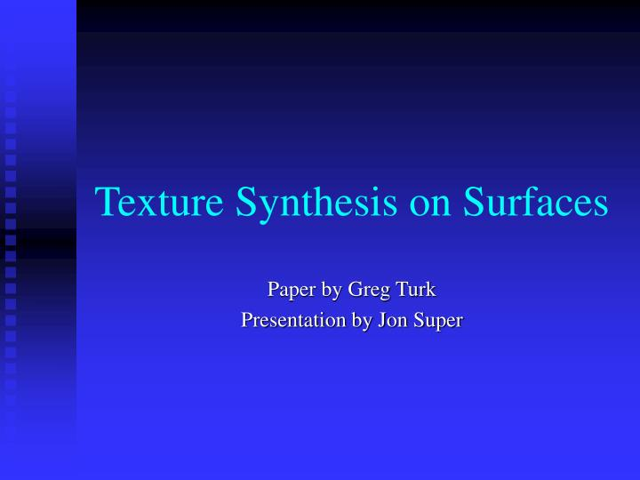 texture synthesis on surfaces n.