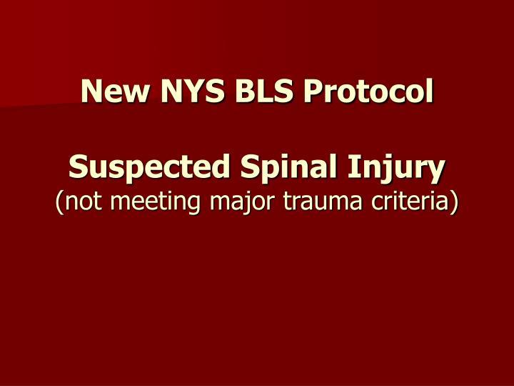 New NYS BLS Protocol