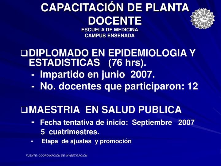 CAPACITACIÓN DE PLANTA DOCENTE