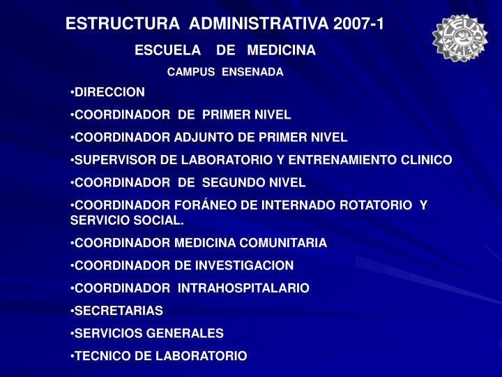 ESTRUCTURA  ADMINISTRATIVA 2007-1