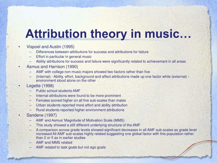 Attribution theory in music…