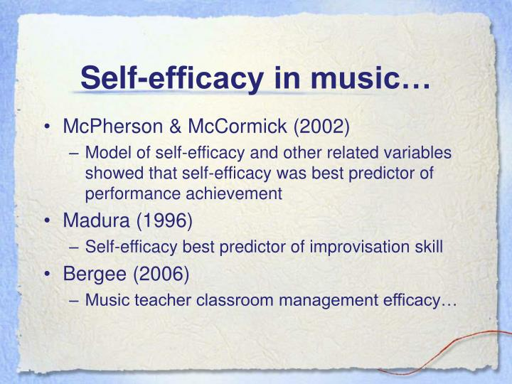 Self-efficacy in music…