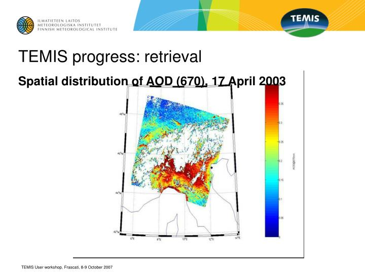 Spatial distribution of AOD (670), 17 April 2003