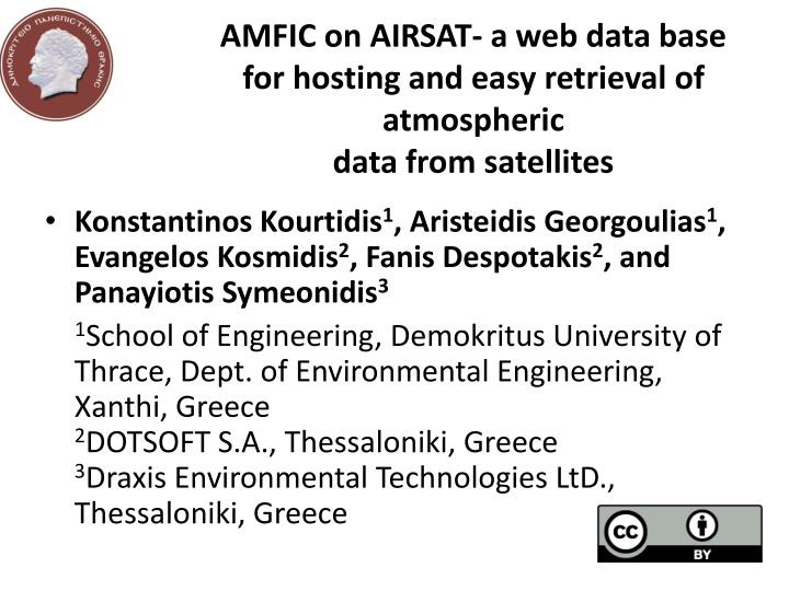 amfic on airsat a web data base for hosting and easy retrieval of atmospheric data from satellites n.