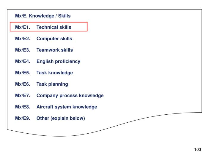 Mx/E. Knowledge / Skills