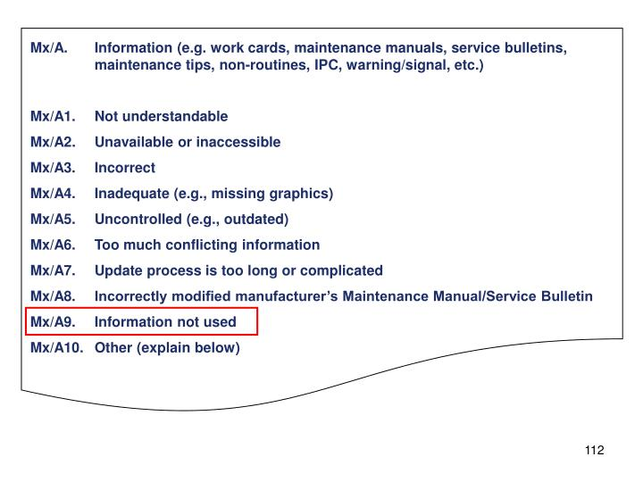 Mx/A.Information (e.g. work cards, maintenance manuals, service bulletins, maintenance tips, non-routines, IPC, warning/signal, etc.)