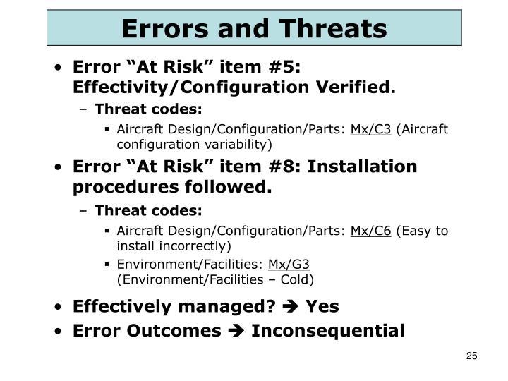 "Error ""At Risk"" item #5: Effectivity/Configuration Verified."