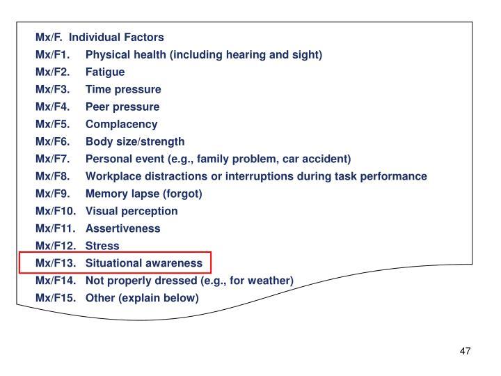 Mx/F.  Individual Factors