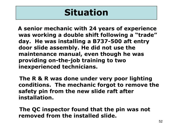 """A senior mechanic with 24 years of experience was working a double shift following a """"trade"""" day.  He was installing a B737-500 aft entry door slide assembly. He did not use the maintenance manual, even though he was providing on-the-job training to two inexperienced technicians."""