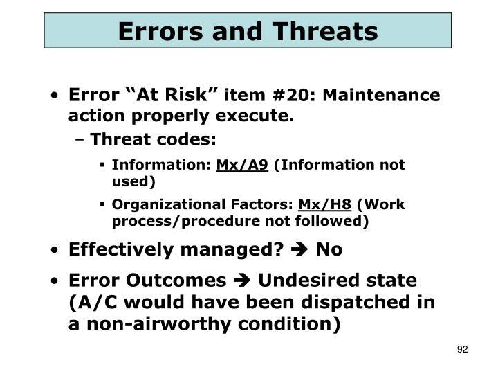 """Error """"At Risk"""""""