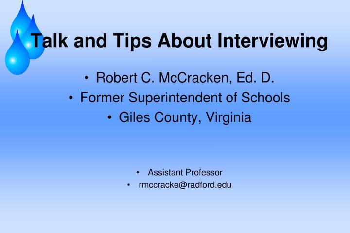 talk and tips about interviewing n.