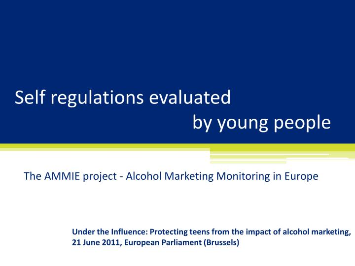 self regulations evaluated by young people n.
