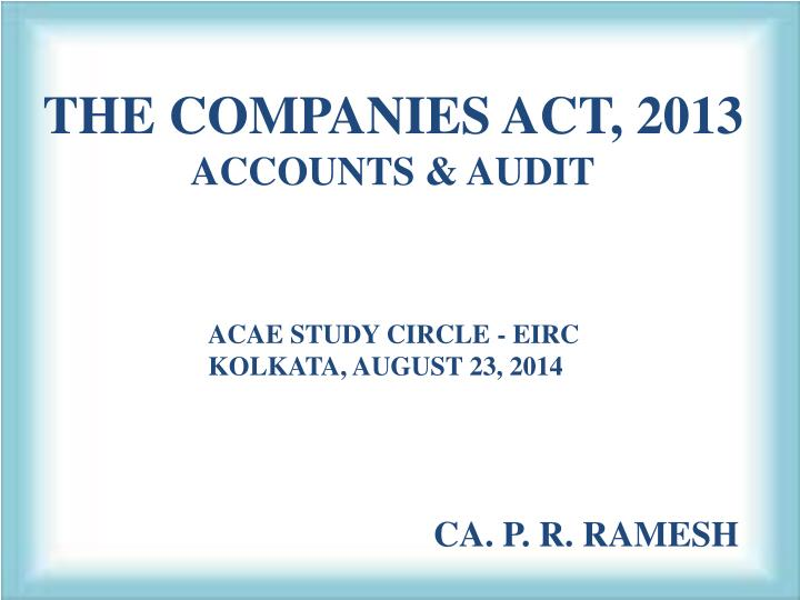 the companies act 2013 accounts audit n.