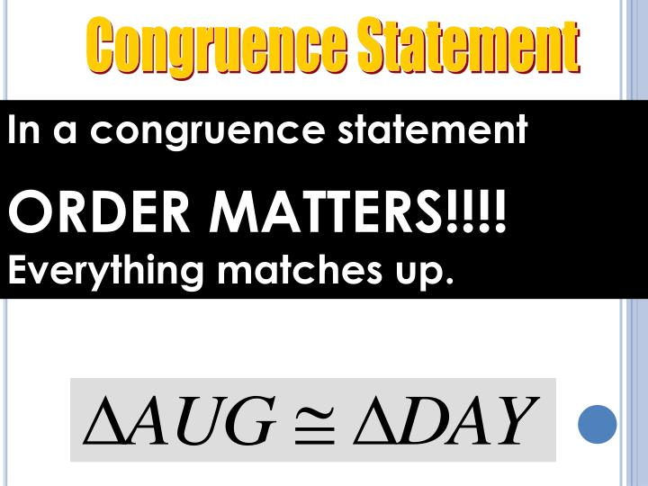 Congruence Statement