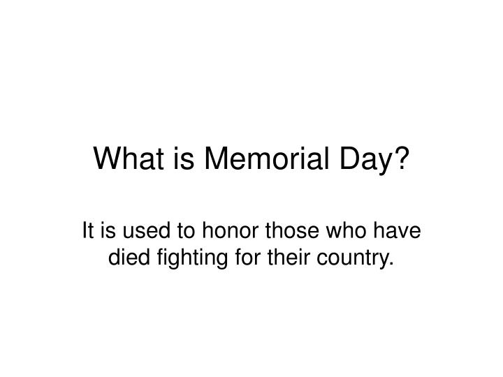 what is memorial day n.