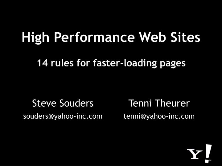 high performance web sites 14 rules for faster loading pages n.