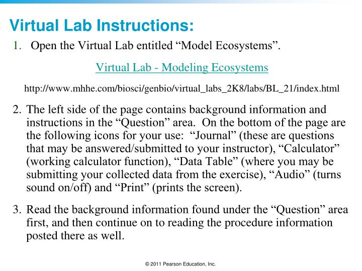 Virtual lab instructions