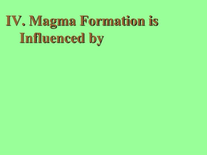 Magma Formation is Influenced by