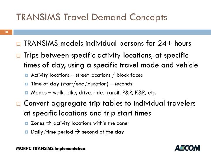 TRANSIMS Travel Demand Concepts