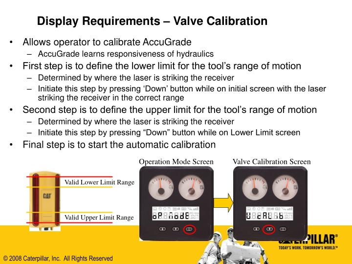 Display Requirements – Valve Calibration