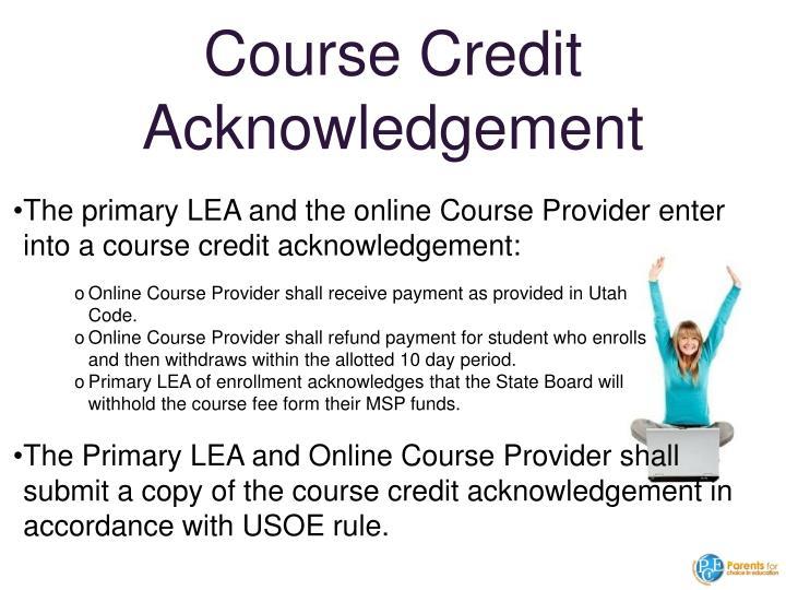 Course Credit Acknowledgement