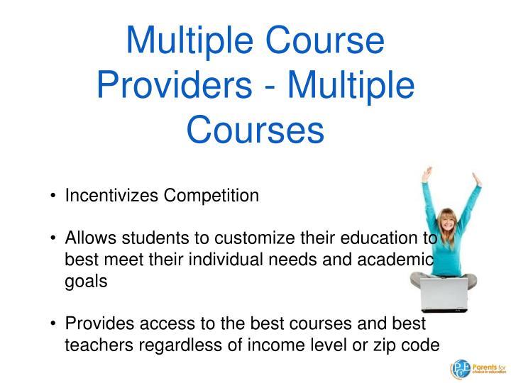 Multiple Course Providers - Multiple Courses