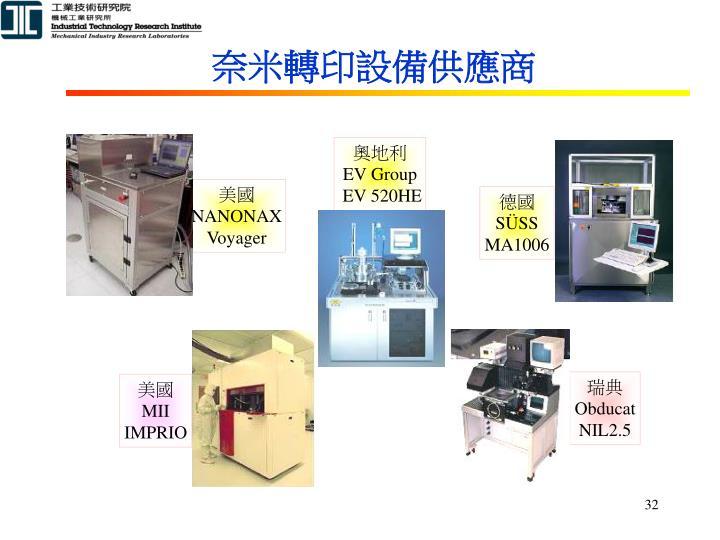 奈米轉印設備供應商