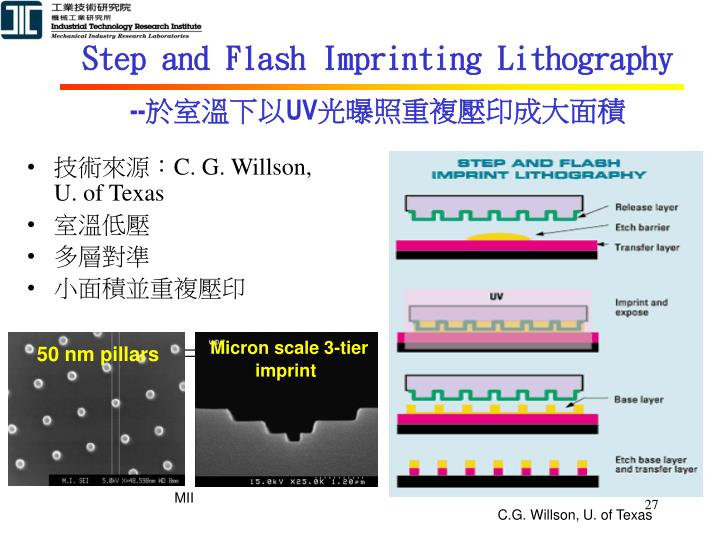 Step and Flash Imprinting Lithography