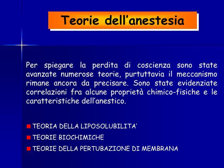 Teorie dell'anestesia