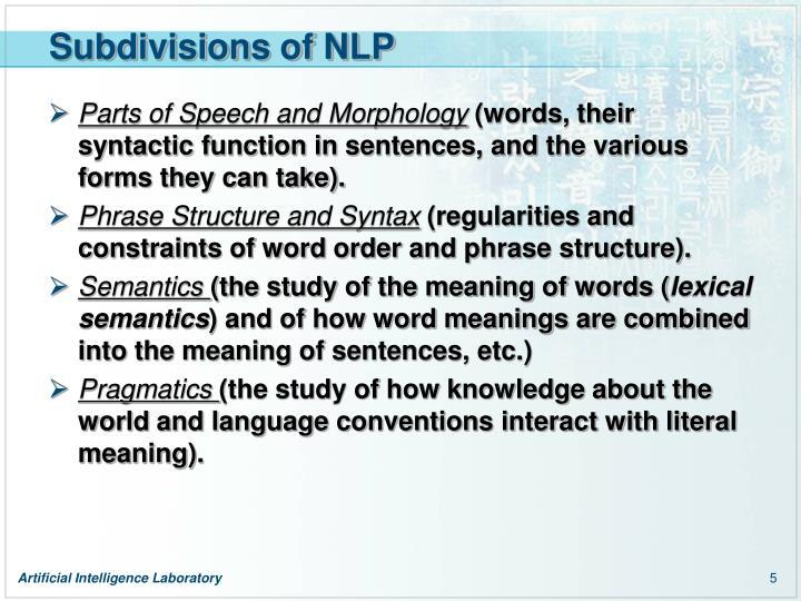 Subdivisions of NLP