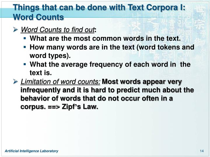 Things that can be done with Text Corpora I: Word Counts