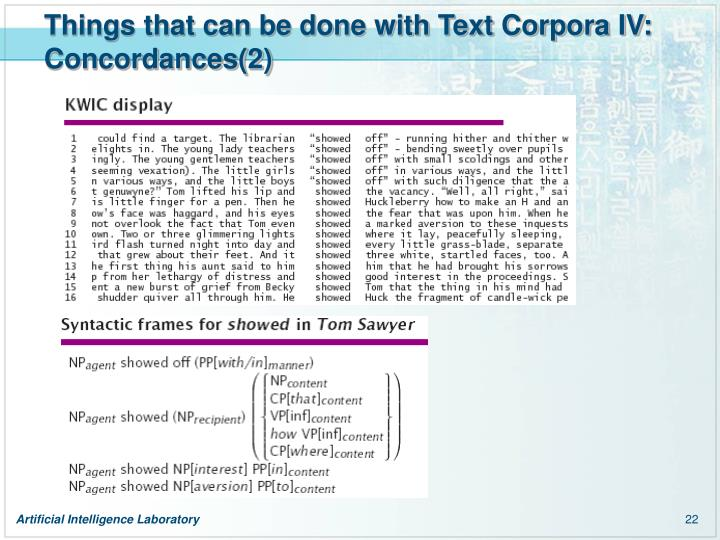 Things that can be done with Text Corpora IV: Concordances(2)