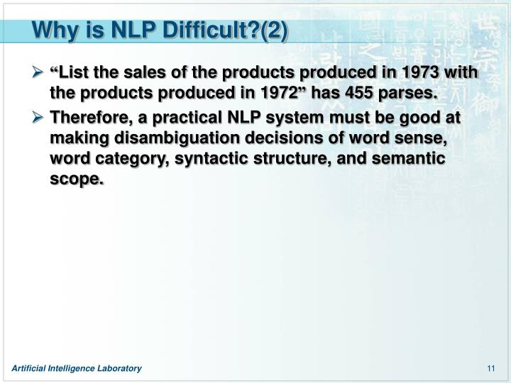 Why is NLP Difficult?(2)