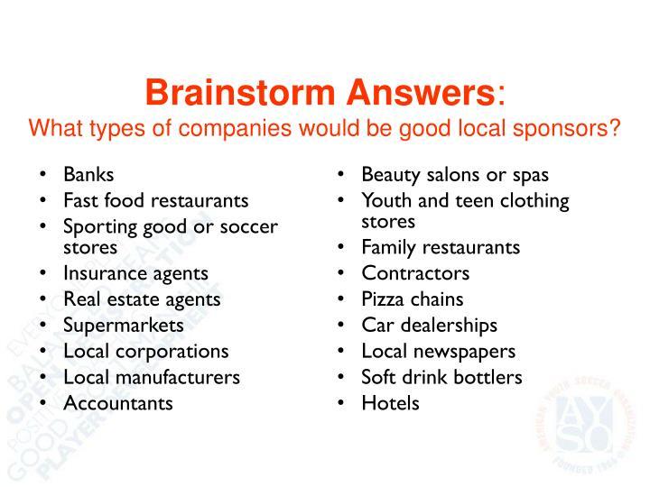 Brainstorm Answers