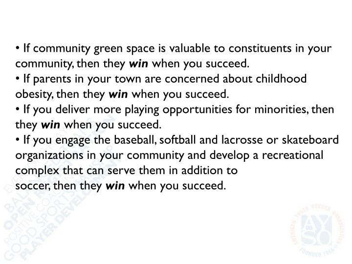 If community green space is valuable to constituents in your community, then they