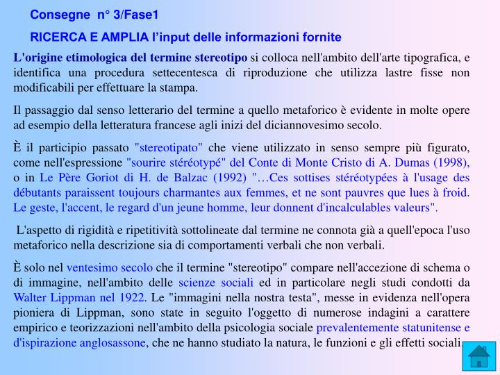 Consegne  n° 3/Fase1