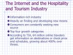 the internet and the hospitality and tourism industry