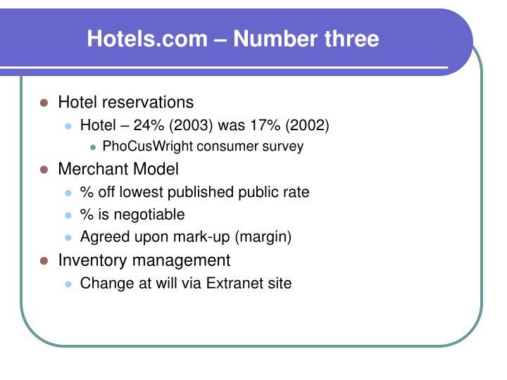 Hotels.com – Number three