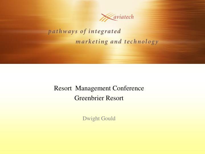 Resort  Management Conference