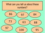 what can you tell us about these numbers