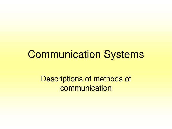 communication systems n.