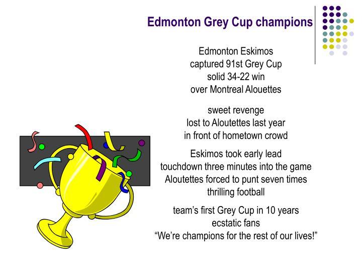 Edmonton Grey Cup Champions