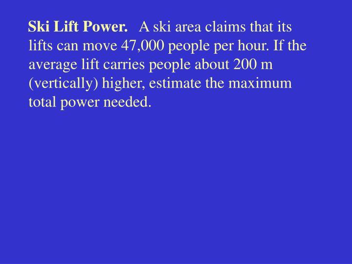 Ski Lift Power.