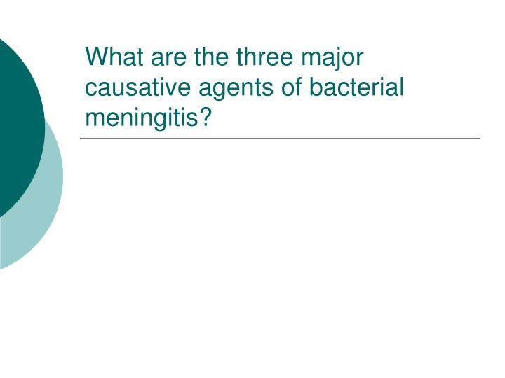 what are the three major causative agents of bacterial meningitis n.