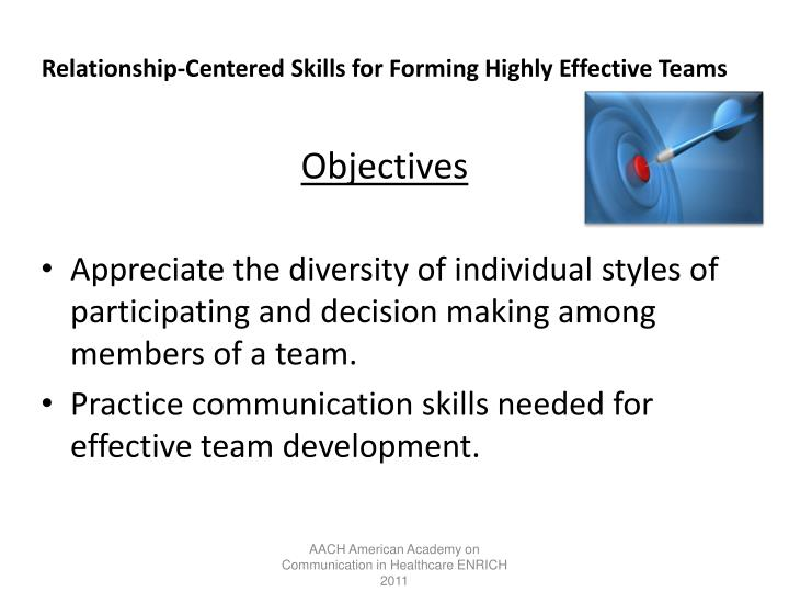 Relationship-Centered Skills for Forming Highly Effective Teams