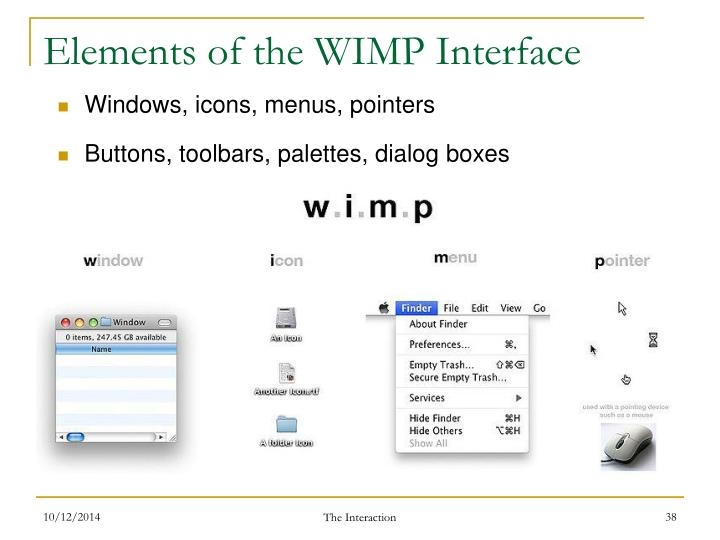 Elements of the WIMP Interface