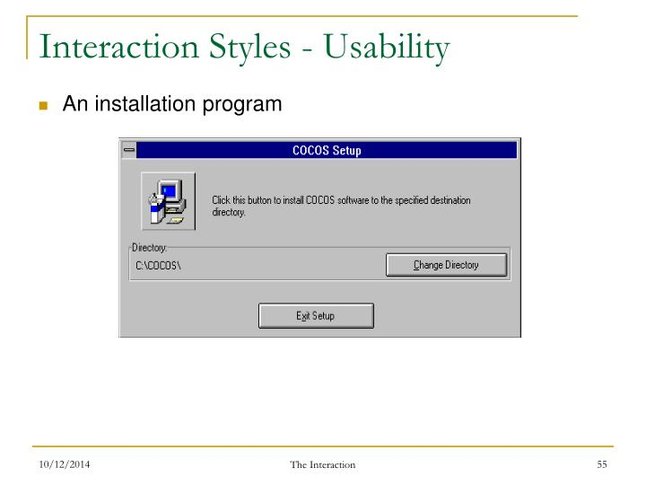 Interaction Styles - Usability