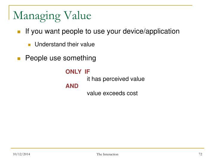 Managing Value